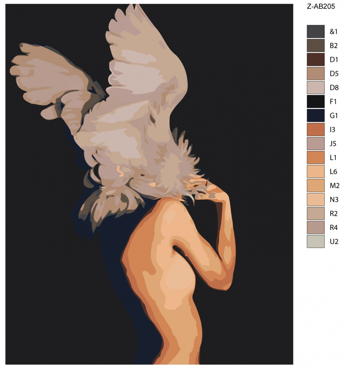 Nude woman paint by number
